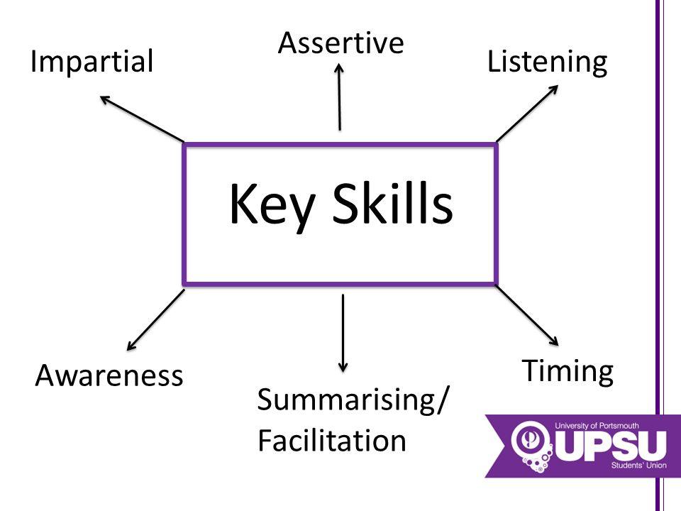 Key Skills Impartial Assertive Listening Awareness Summarising/ Facilitation Timing