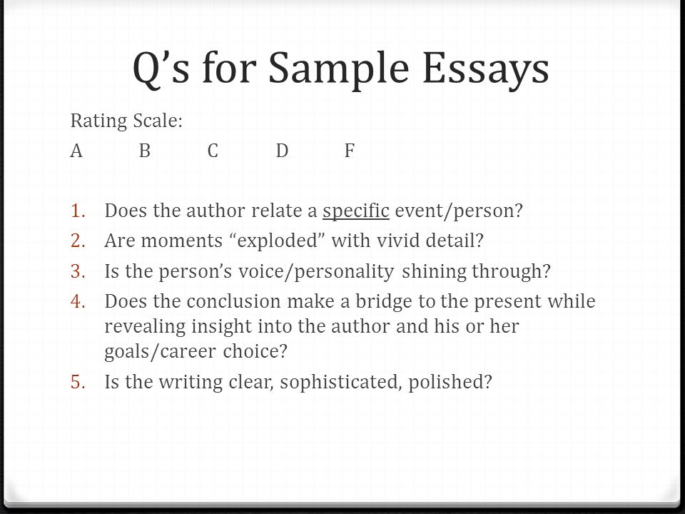 sapmle essays with ratings You don't know how to write a movie review essay our writers complete great movie reviews read a sample at our website, so you'll get inspired.