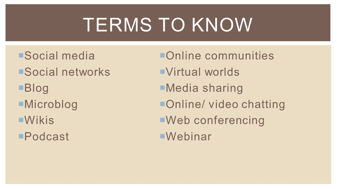  Social media  Social networks  Blog  Microblog  Wikis  Podcast TERMS TO KNOW  Online communities  Virtual worlds  Media sharing  Online/ video chatting  Web conferencing  Webinar