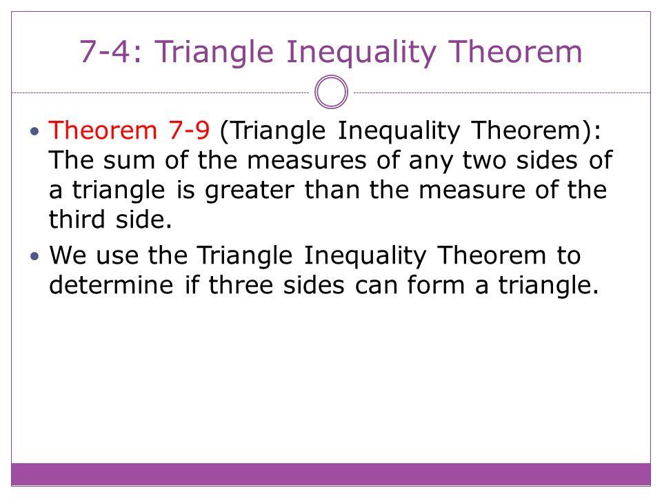 74 Triangle Inequality Theorem Theorem 79 Triangle Inequality – Triangle Inequality Theorem Worksheet