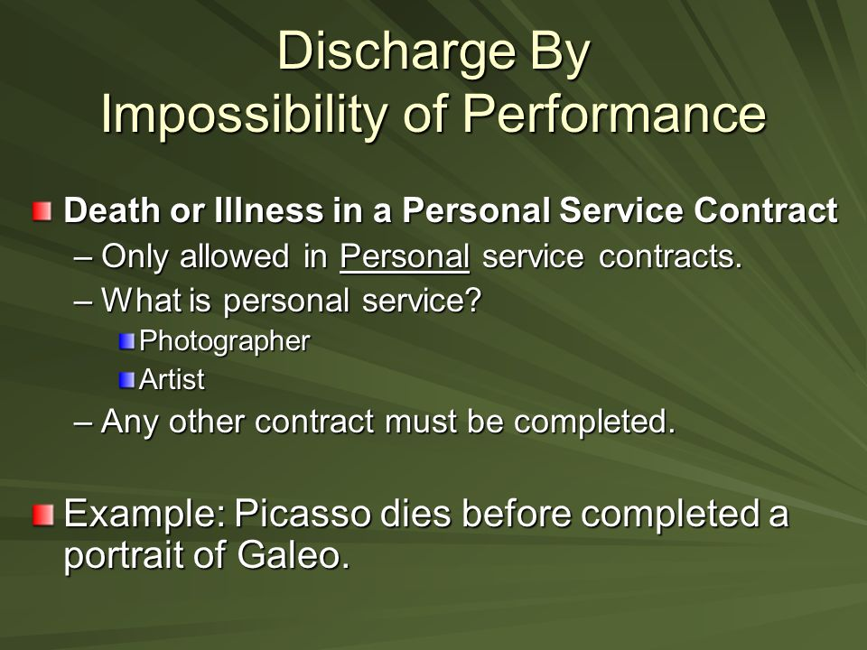 Methods To Terminate A Contract. Discharge By Performance Contract