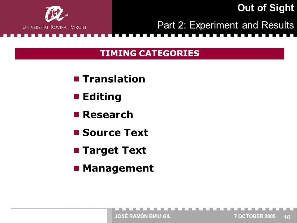 10  Translation  Editing  Research  Source Text  Target Text  Management Out of Sight Part 2: Experiment and Results JOSÉ RAMÓN BIAU GIL 7 OCTOBER 2005 TIMING CATEGORIES