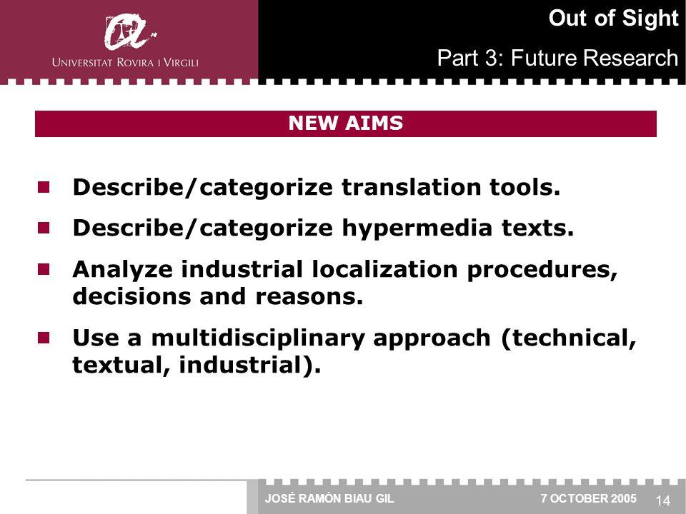 14  Describe/categorize translation tools.  Describe/categorize hypermedia texts.