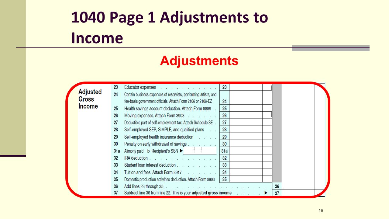 Irs form we file 1040 forms not 1040a 1040ez etc is split up into 10 1040 page 1 adjustments to income 10 adjustments publicscrutiny Images