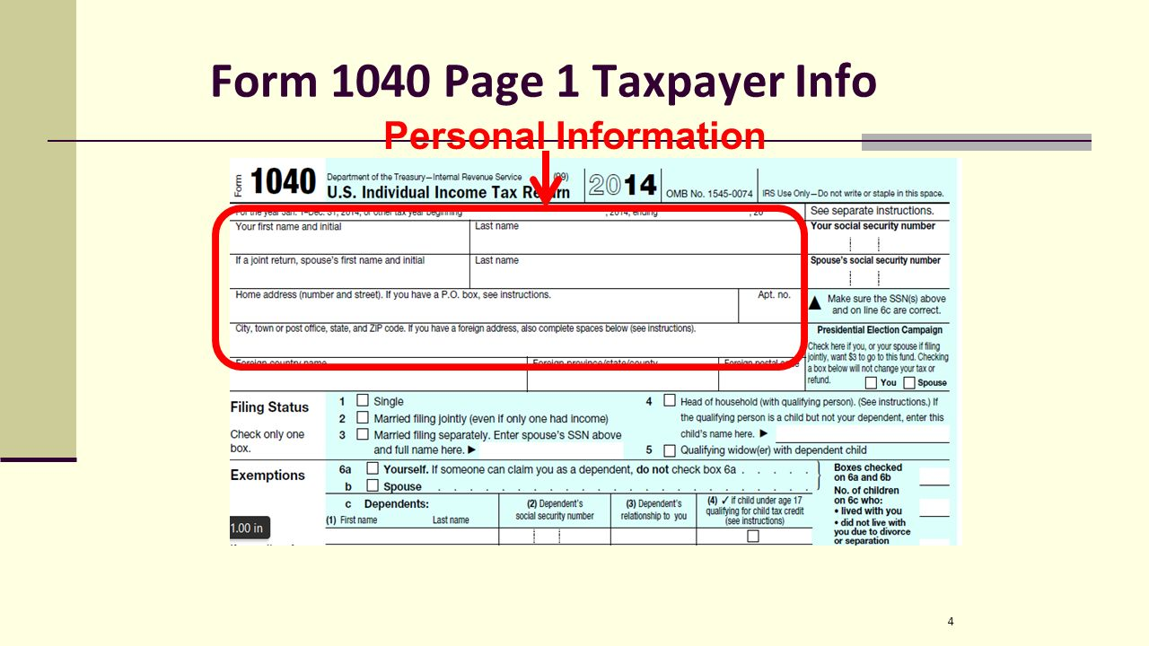 Irs form we file 1040 forms not 1040a 1040ez etc is split up 4 form 1040 page 1 taxpayer info 4 personal information falaconquin
