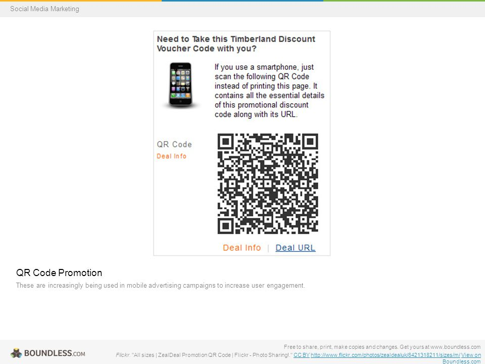 QR Code Promotion These are increasingly being used in mobile advertising campaigns to increase user engagement.