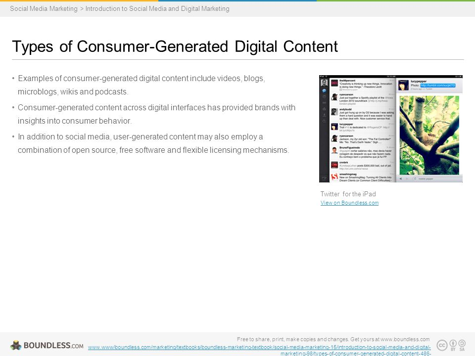 Examples of consumer-generated digital content include videos, blogs, microblogs, wikis and podcasts.