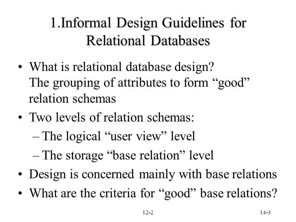 informal design guidelines for relational databases what is relational - Database Design Guidelines