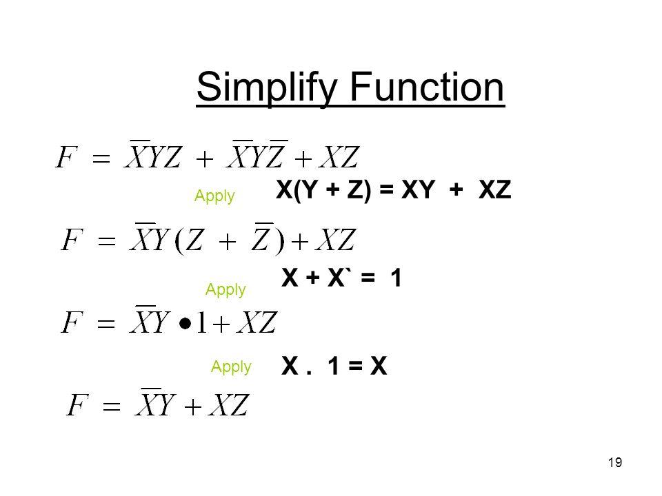 19 Simplify Function Apply X(Y + Z) = XY + XZ X + X` = 1 X. 1 = X