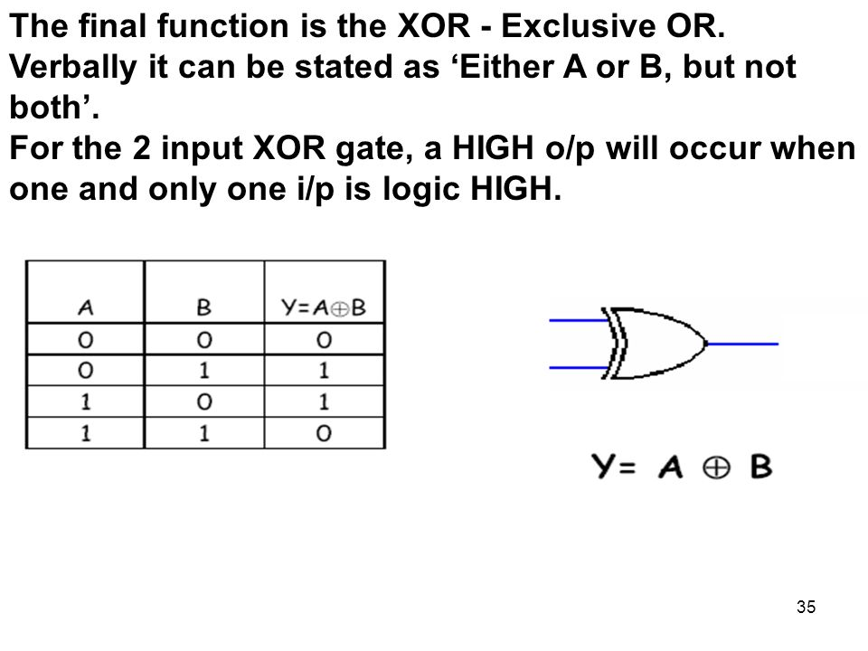 35 The final function is the XOR - Exclusive OR.