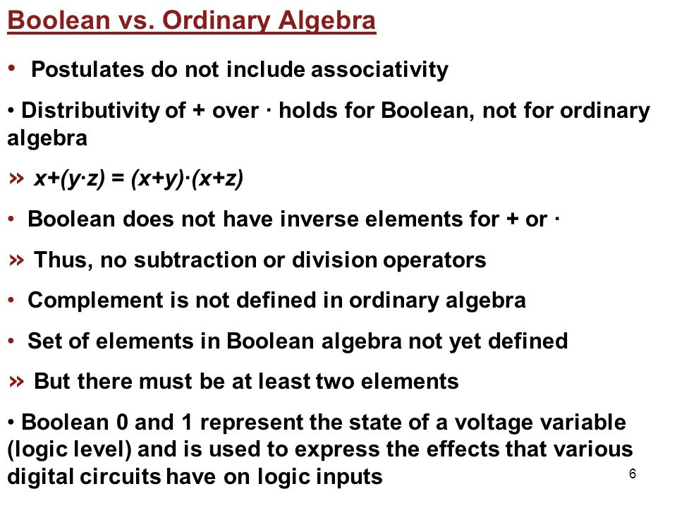 6 Boolean vs.