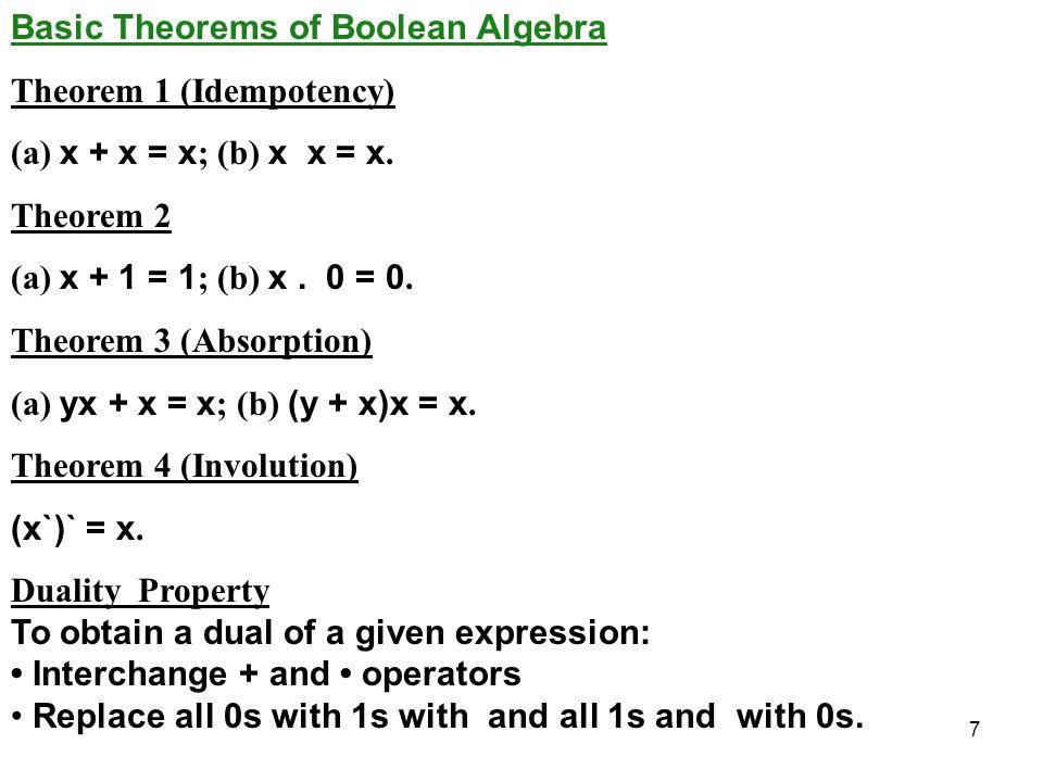 7 Basic Theorems of Boolean Algebra Theorem 1 (Idempotency) (a) x + x = x ; (b) x x = x.