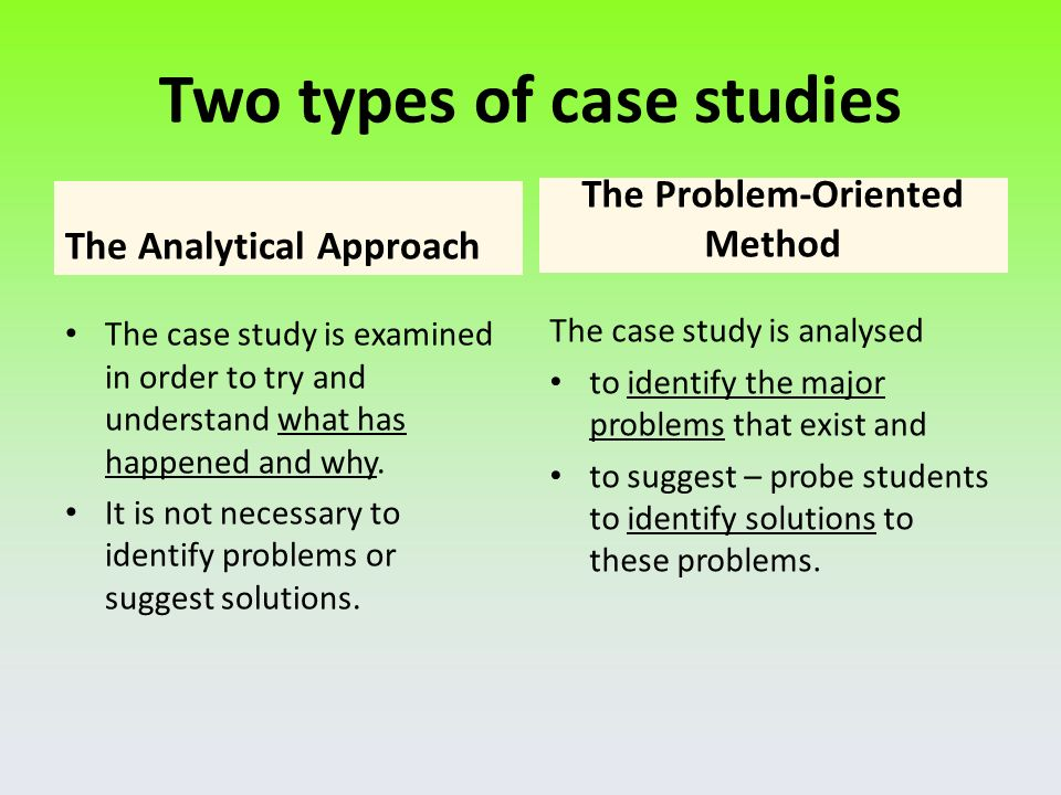 types of case study analysis 6 types of case interviews: why you need to know each one 6 types of case interviews: why you need to know each one  this goal if you look at it through the lens of profitability, would it be by increasing prices or volumes (market study would be the second level of analysis) if you look at it through the market study lens, you look at.