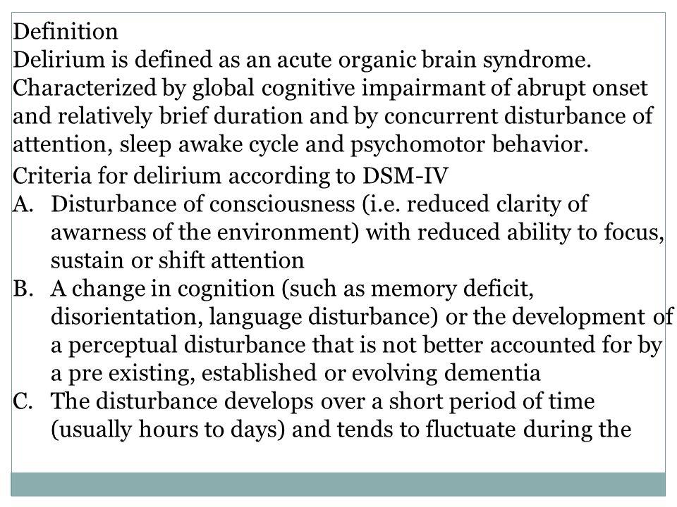cognitive disorder) delirium chapter 20. definition delirium is, Skeleton