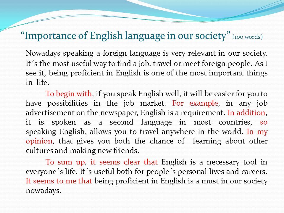 Importance Of The English Language Essay