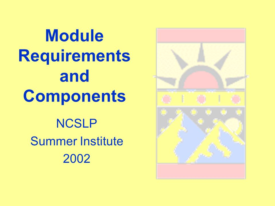 Module Requirements and Components NCSLP Summer Institute 2002