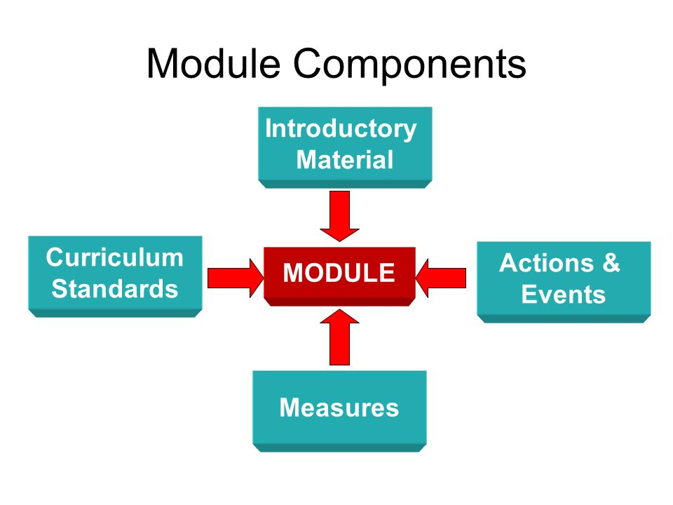 Components Introductory Materials –Module Description –Requirements –Objectives –Introduction –Featured Facts Actions & Events –Model Description –Activities and Procedures –References and Resources –Teaching Strategies Measures –Thought Provoking Questions –Assessment Techniques Curriculum Standards –Standards Addressed –Cross Curricular Connections –Glossary