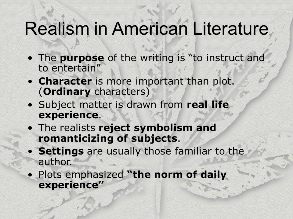 a comparison of the realism and the modernism two movements in american literature Sample reading list: the novel: from realism to modernism rationale the modernist novel's turn away from the techniques of representation of nineteenth-century.