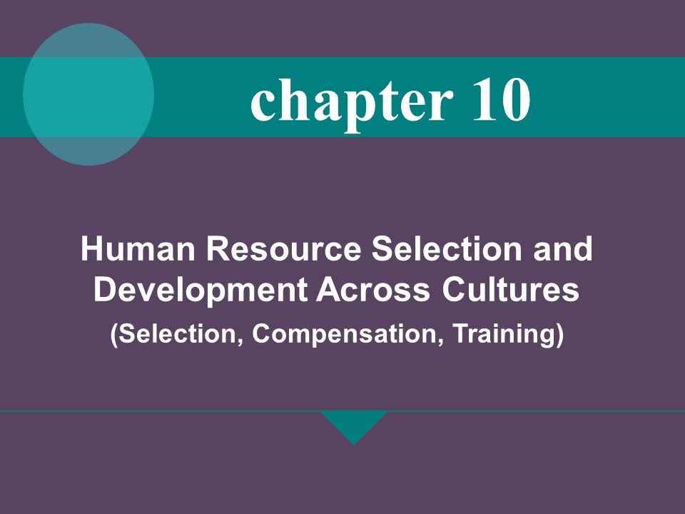 Human Resource Selection and Development Across Cultures (Selection, Compensation, Training) chapter 10
