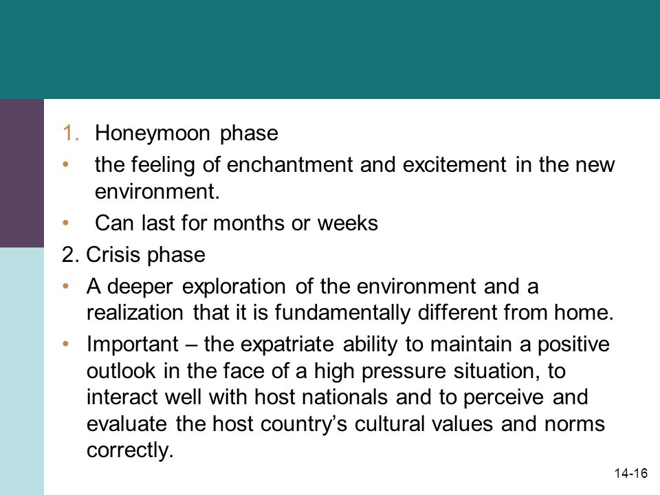 14-16 1.Honeymoon phase the feeling of enchantment and excitement in the new environment.
