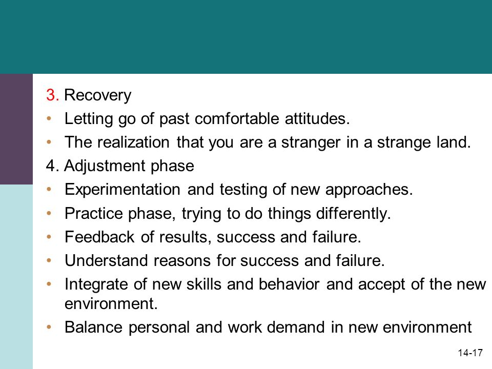 14-17 3. Recovery Letting go of past comfortable attitudes.