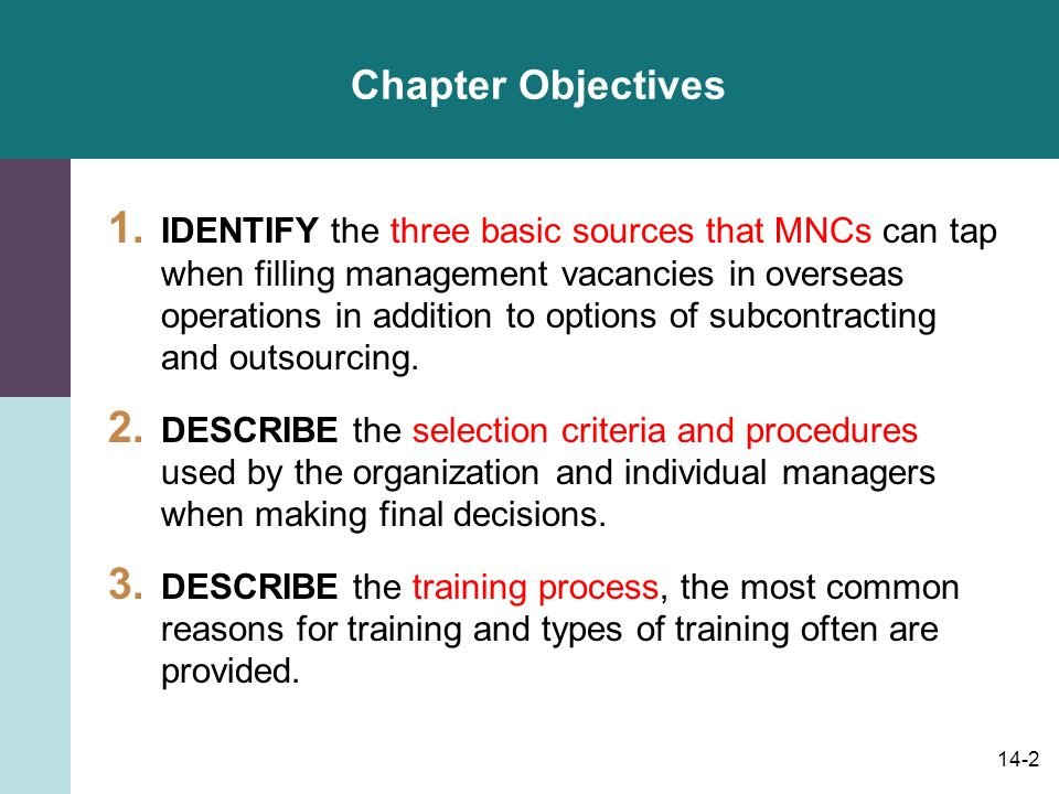 14-2 Chapter Objectives 1.