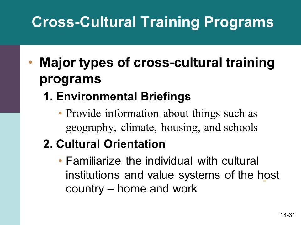 14-31 Cross-Cultural Training Programs Major types of cross-cultural training programs 1.