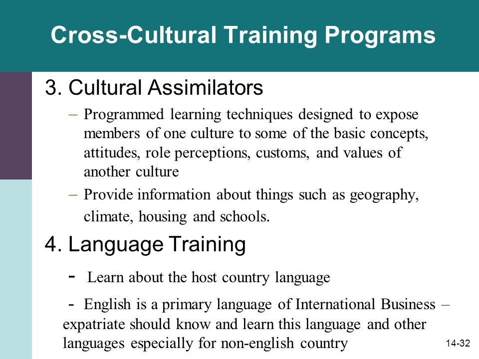 14-32 Cross-Cultural Training Programs 3.