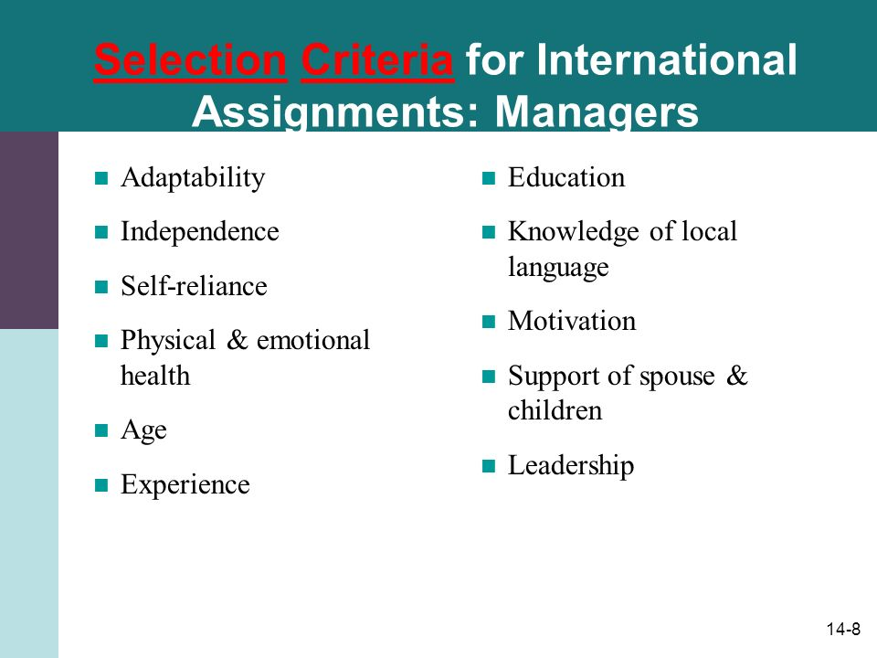 14-8 Selection Criteria for International Assignments: Managers Adaptability Independence Self-reliance Physical & emotional health Age Experience Education Knowledge of local language Motivation Support of spouse & children Leadership