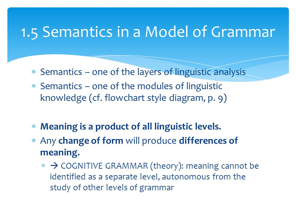  Semantics – one of the layers of linguistic analysis  Semantics – one of the modules of linguistic knowledge (cf.