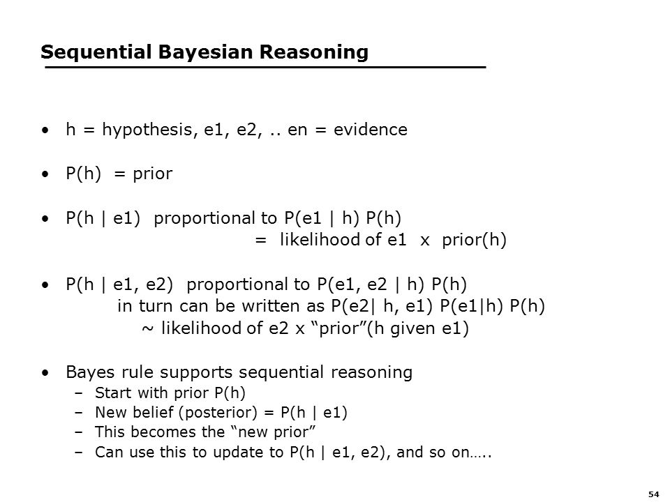 54 Sequential Bayesian Reasoning h = hypothesis, e1, e2,..