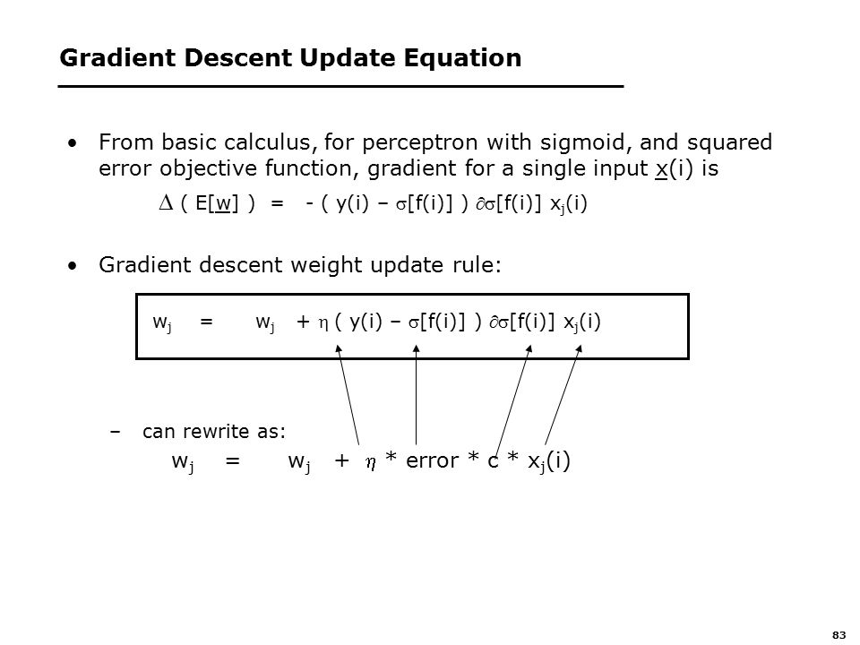83 Gradient Descent Update Equation From basic calculus, for perceptron with sigmoid, and squared error objective function, gradient for a single input x(i) is  ( E[w] ) = - ( y(i) – [f(i)] ) [f(i)] x j (i) Gradient descent weight update rule: w j = w j + ( y(i) – [f(i)] ) [f(i)] x j (i) – can rewrite as:  w j = w j + * error * c * x j (i)