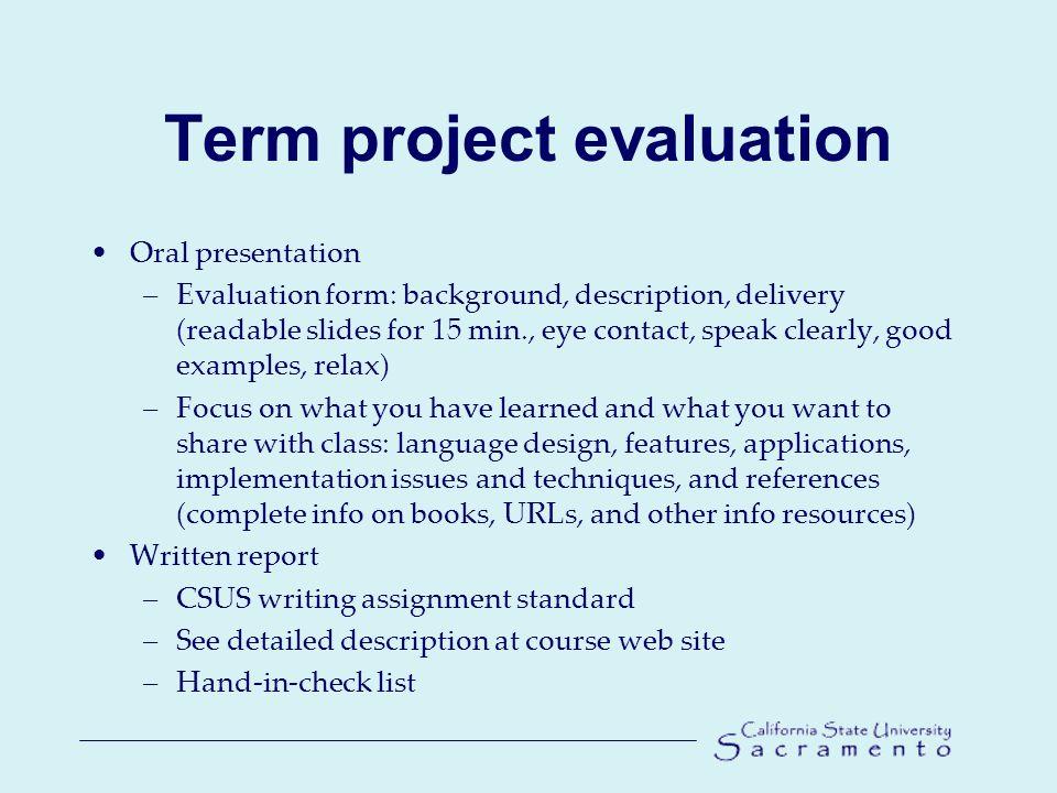 2 Term Project Evaluation Oral Presentation U2013Evaluation Form: Background,  Description ...