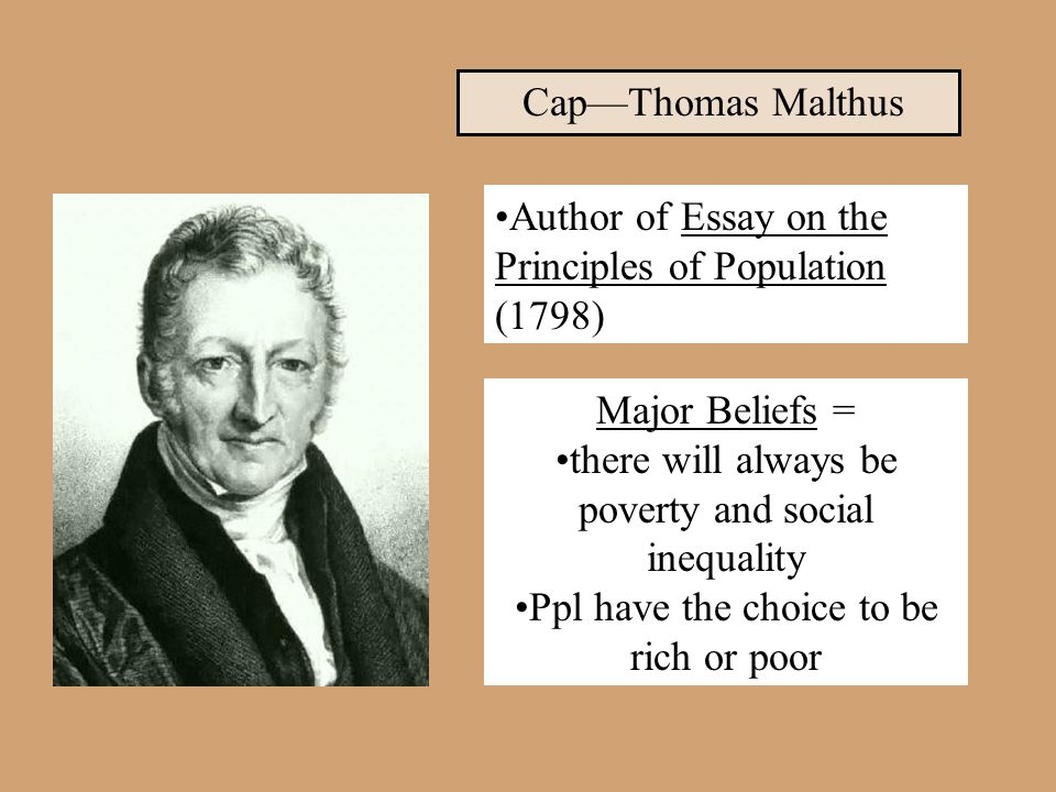 in 1798 the essay on the principle of population was published by Summary and analysis chapter 4 - the anonymously published essay on the principles of population as it affects the future improvement of society (1798).
