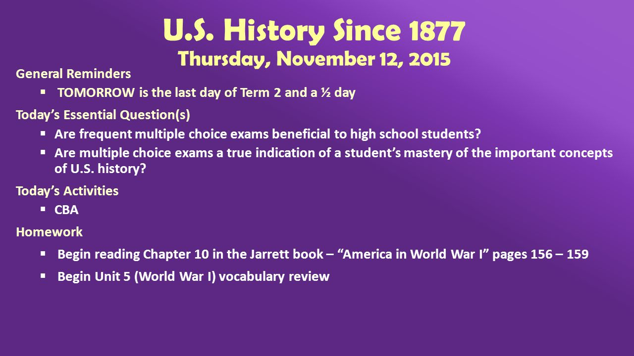 history since 1877 final exam Course: american history since 1877 text semester 1 final exam study guide the jazz age review for test - chapter 15 normalcy and good times review for test.