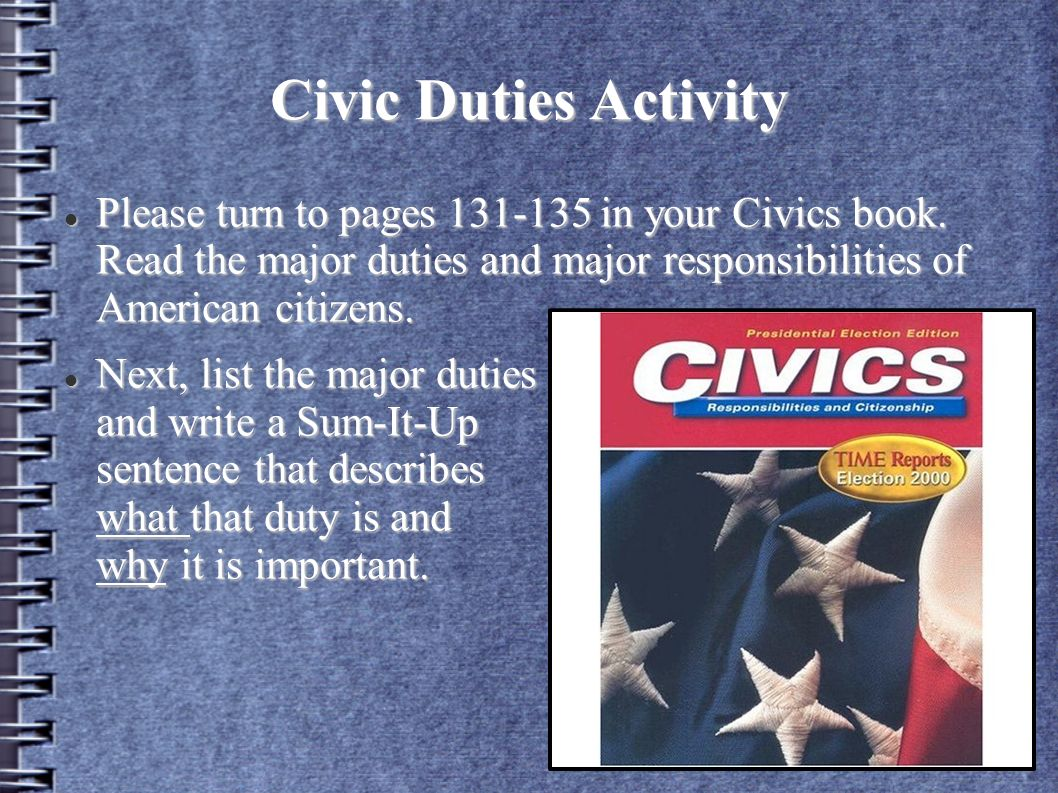 civic responsibilities of americans Civic duties and responsibilities digital story -- chad folkersma: this digital story describes and the differences between american civic duties and respons.