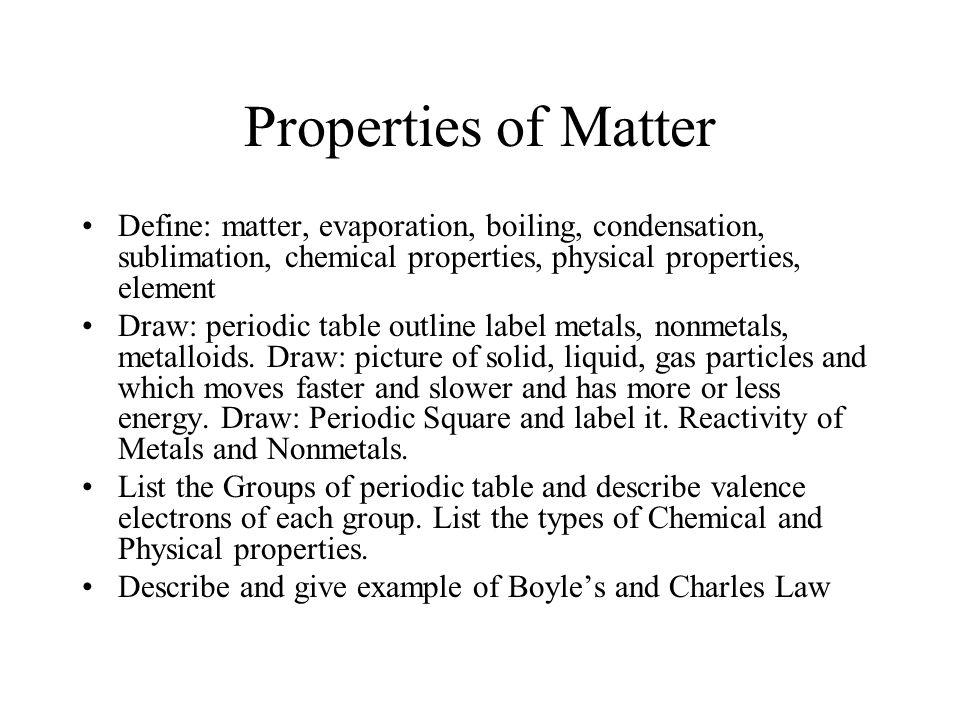 Properties of matter define matter evaporation boiling properties of matter define matter evaporation boiling condensation sublimation chemical urtaz Image collections