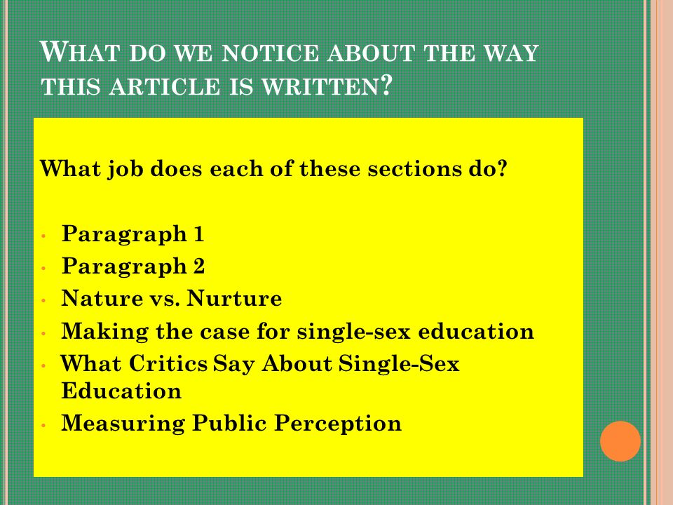 single sex school argumentative essay Custom single-sex schools essay paper one sex school education is a practice of carrying education, where boy and girl students go to separate classes, buildings or schools this practice was more common in the previous years, especially in higher and secondary education.
