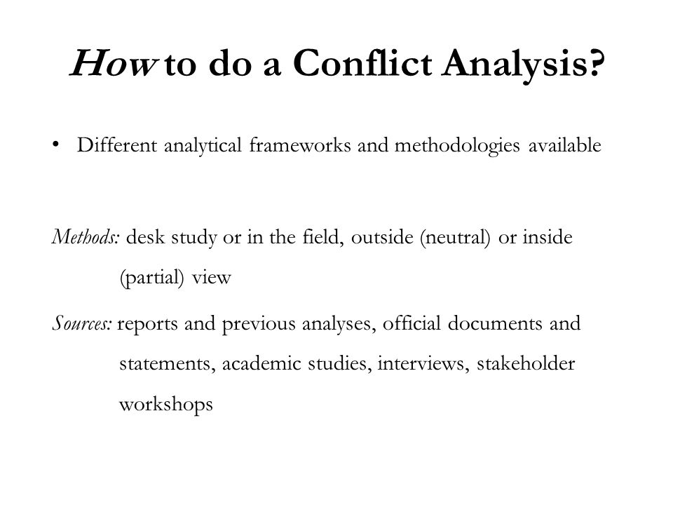 How to do a Conflict Analysis.