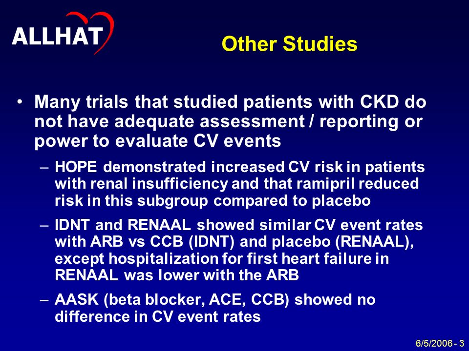 ALLHAT 6/5/ Other Studies Many trials that studied patients with CKD do not have adequate assessment / reporting or power to evaluate CV events –HOPE demonstrated increased CV risk in patients with renal insufficiency and that ramipril reduced risk in this subgroup compared to placebo –IDNT and RENAAL showed similar CV event rates with ARB vs CCB (IDNT) and placebo (RENAAL), except hospitalization for first heart failure in RENAAL was lower with the ARB –AASK (beta blocker, ACE, CCB) showed no difference in CV event rates