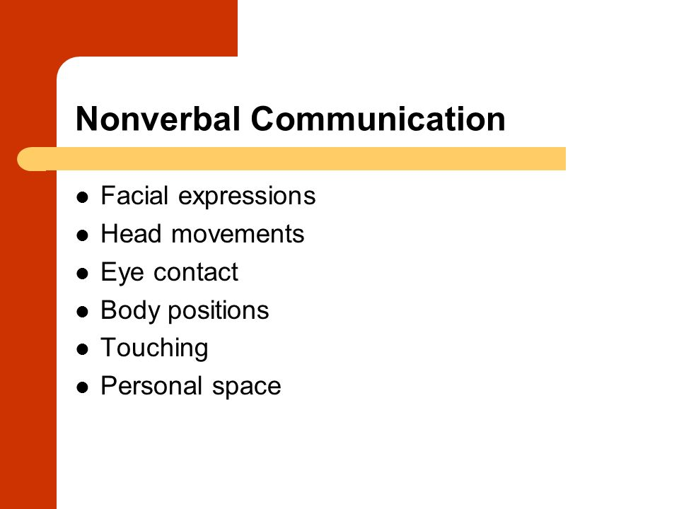 Nonverbal Communication Facial expressions Head movements Eye contact Body positions Touching Personal space