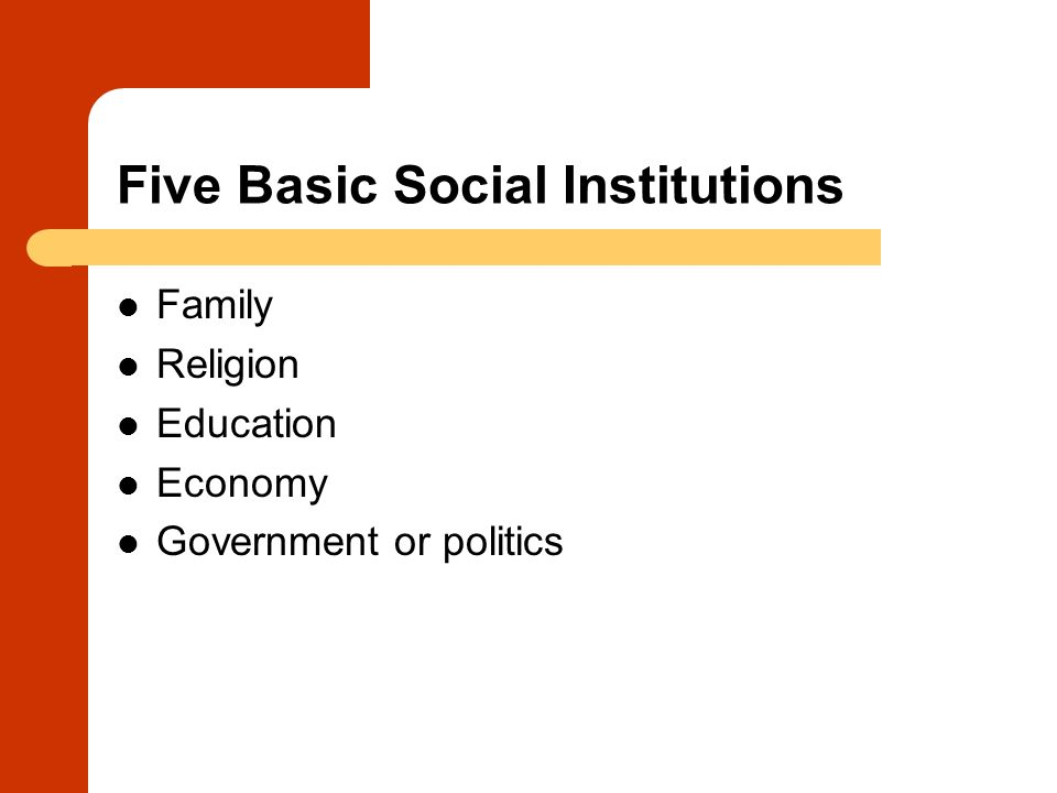 Five Basic Social Institutions Family Religion Education Economy Government or politics