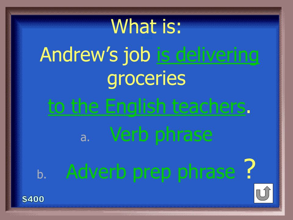2-400 Andrew's job is delivering groceries to the English teachers. Name any phrases- be specific