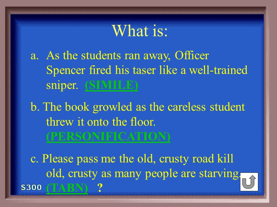 6-300 Identify the Style Elements: a.As the students ran away, Officer Spencer fired his taser like well-trained sniper.