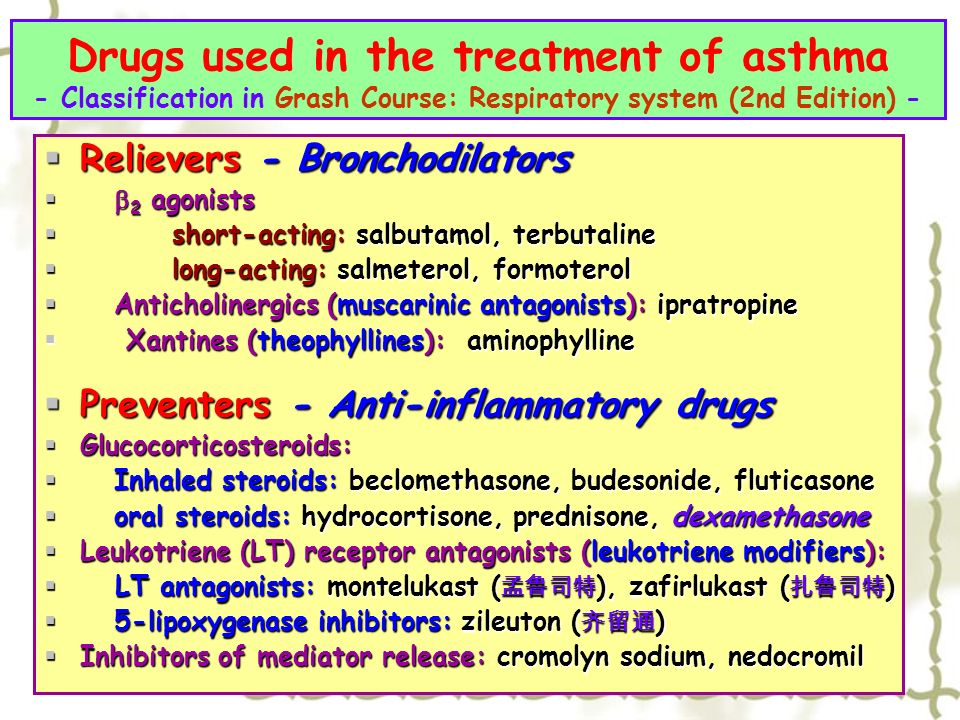 preventing asthma attacks and long term treatment for asthma Asthma is not well controlled long-term control medicines are taken every day to prevent symptoms and attacks: attack your goals for asthma treatment.