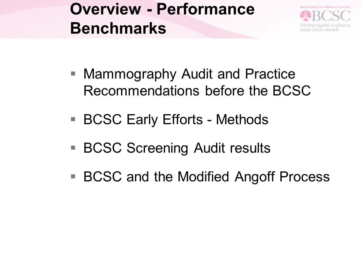 Screening mammography benchmarks modified angoff screening 2 overview performance benchmarks mammography audit and practice recommendations before the bcsc bcsc early efforts methods bcsc screening xflitez Gallery