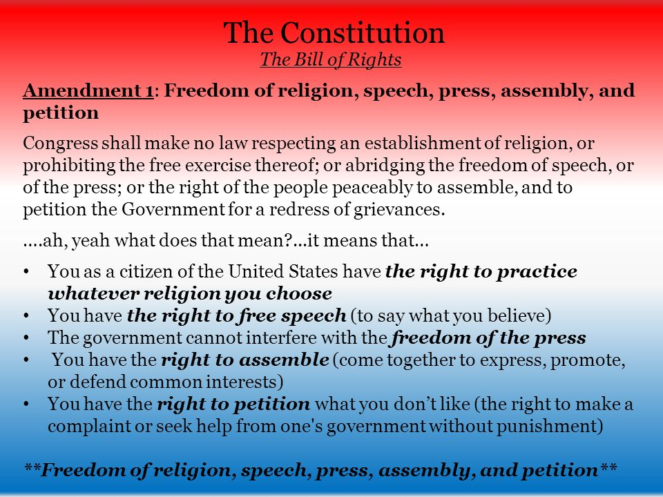 a description of the amendment i on congress making no law respecting an establishment of religion Congress shall make no law respecting an establishment of religion, or prohibiting the free exercise thereof or abridging the freedom of speech, or of the press or the right of the people peaceably to assemble, and to petition the government for a redress of grievances the legislature of the.