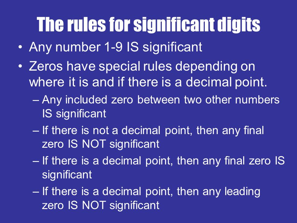 decimal and significant figures