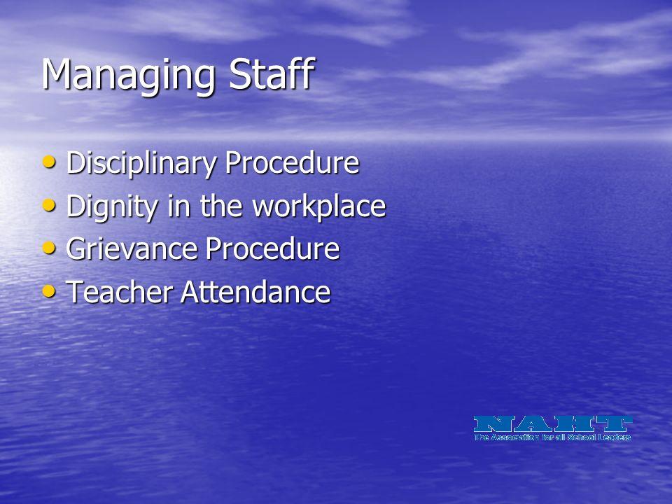 Managing Staff Disciplinary Procedure Disciplinary Procedure Dignity in the workplace Dignity in the workplace Grievance Procedure Grievance Procedure Teacher Attendance Teacher Attendance