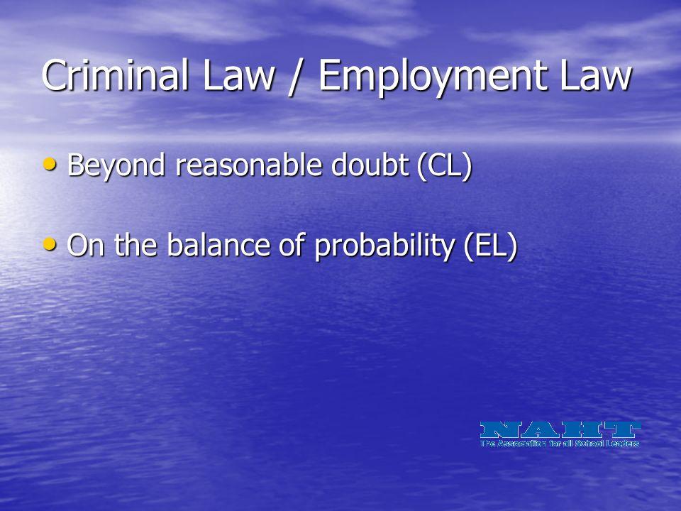 Criminal Law / Employment Law Beyond reasonable doubt (CL) Beyond reasonable doubt (CL) On the balance of probability (EL) On the balance of probability (EL)